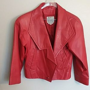 Saks fifth Avenue red leather jacket